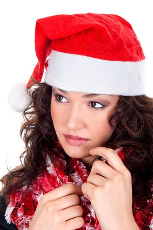 Mrs. Santa coming soon, studio shot Standard-Bild - 120897606