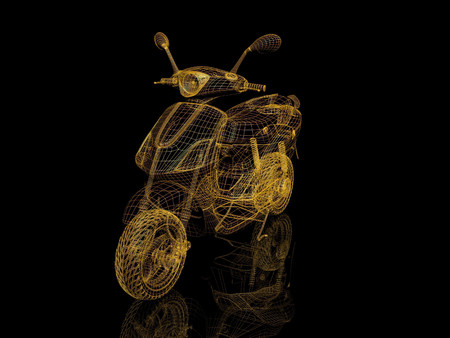 motocycle: Scooter wire model on black background