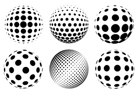 Set of vector realistic dotted spheres Vector