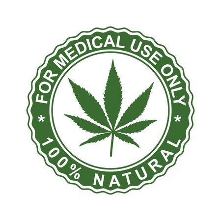 Timbre de cannabis. Pour usage médical uniquement. Timbre de vecteur. Feuille verte de marijuana. Symbole naturel pour les conceptions graphiques.
