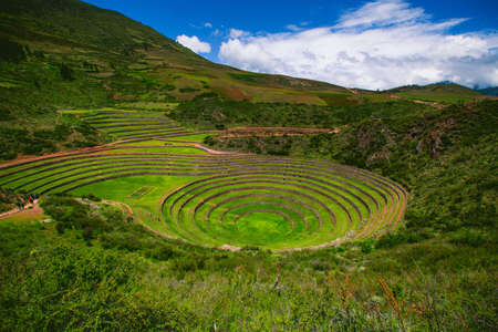 Inca terraces of Moray, Peru. They were used for agricultural experiments. Each level has its own microclimate. Moray is an archaeological site near the Sacred Valley in Peru. Stock Photo