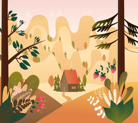 Vector illusrtation of Mountain forest valley in warm colors. Little house, berries, trees, firs and flowers. Kidsbook picrure. Fairy tale illustration.