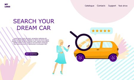 Web page template for car seller service advertising. Girl standing near the car with a phone. Modern landing page for mobile app. Business website concept. Searching your dream car.
