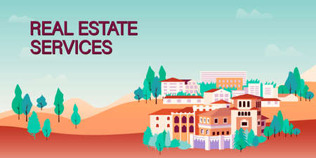 Web banner template for real estate agency or broker. Row of houses and trees, town view. vector illustration in flat style for advertisement of property selling or renting. Web site template