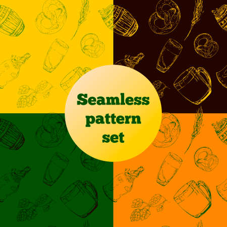 Seamless pattern of beer elements