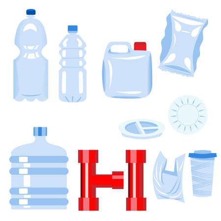 Set of plastic items. Bottle, plate, glass, tube, 5-gallon bucket, bag, packaging, tunnel, jerrican. Plastic materials