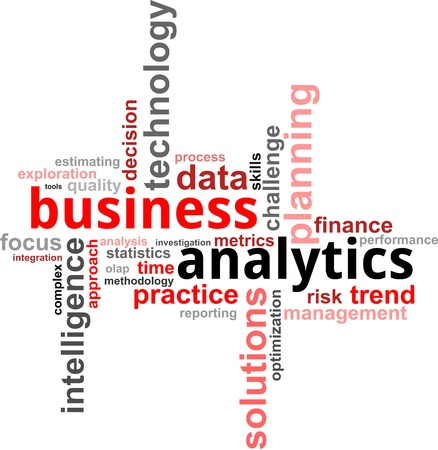 metrics: A word cloud of business analytics related items