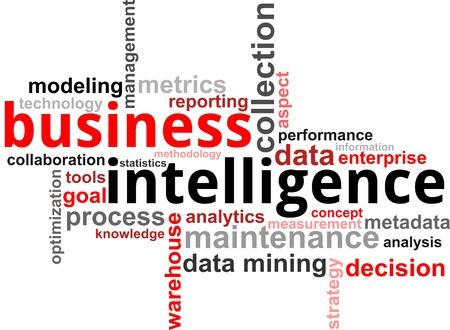 business goal: A word cloud of business intelligence related items