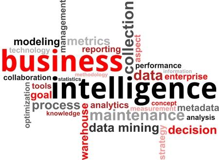 inteligencia: Una nube de palabras de elementos de inteligencia de negocios relacionados