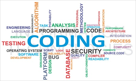 A word cloud of coding related items Vector