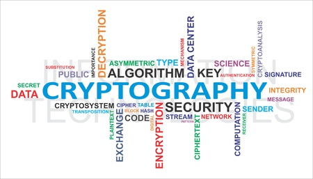 A word cloud of cryptography related items Vectores