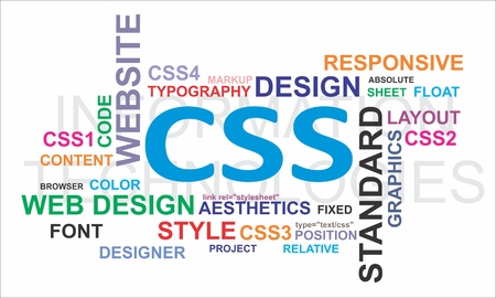 A word cloud of css related items