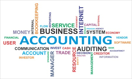 A word cloud of accounting related items Vector