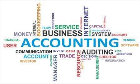 bookkeeping: Una nube de palabras de la contabilidad de los productos asociados