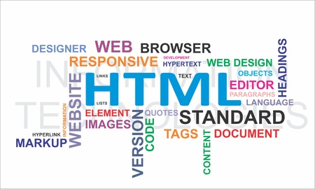 A word cloud of html related items