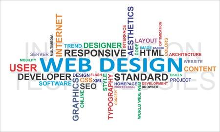 concepteur web: Un nuage de mot d'�l�ments de conception Web connexes