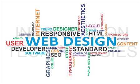 A word cloud of web design related items