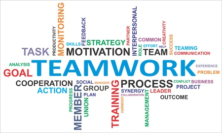 work task: A word cloud of teamwork related items Illustration