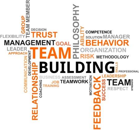 teamleider: Een woord wolk van team building gerelateerde items