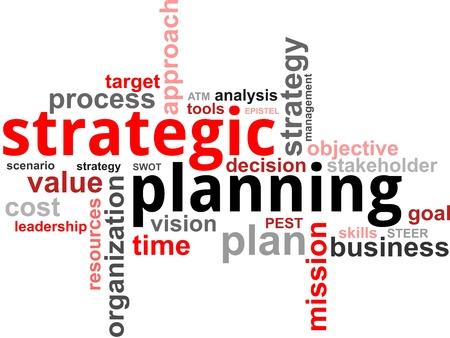 planowanie: Chmura słowo planowania strategicznego przedmiotów pokrewnych Ilustracja