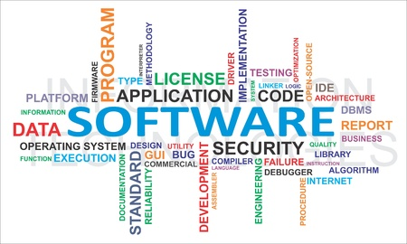 A word cloud of software related items Illustration
