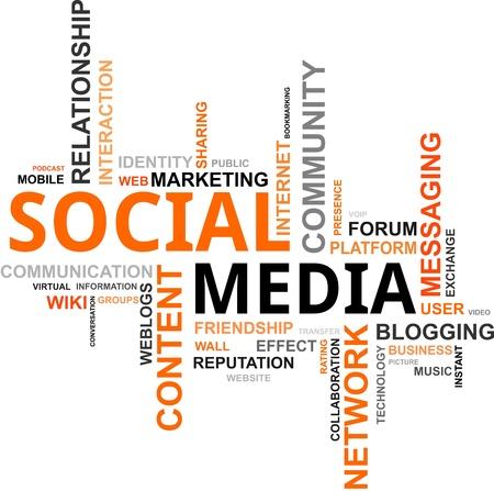 presencia: Una nube de palabras de los medios sociales relacionados con los elementos Vectores