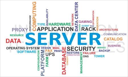 �resource: Una nube de palabras de los elementos del servidor relacionados Vectores