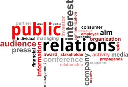Un nuage de mot de relations publiques liées articles Vecteurs