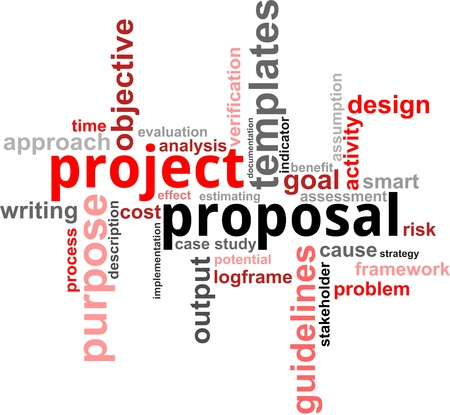 A word cloud of project proposal related items Vectores