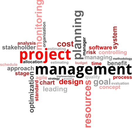 A word cloud of project management related items Ilustração