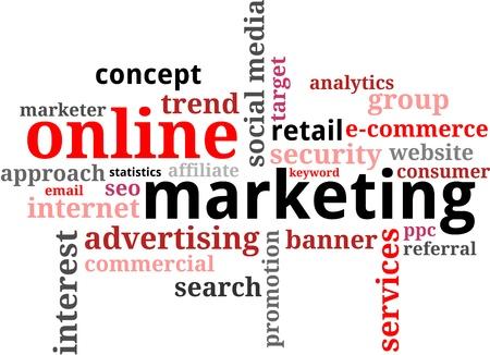 social media marketing: Una nube de palabras de art�culos de marketing en l�nea relacionados