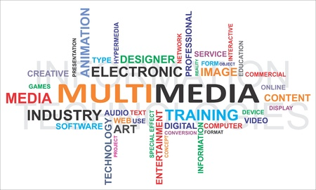 A word cloud of multimedia related items Stock Vector - 17775704