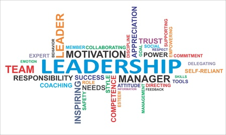 A word cloud of leadership related items Illustration