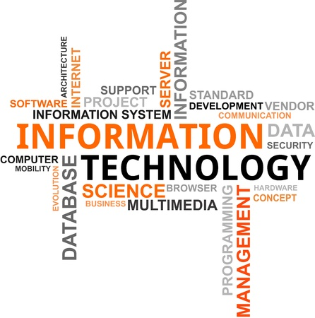 A word cloud of information technology related items Stock Illustratie