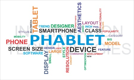 A word cloud of phablet related items