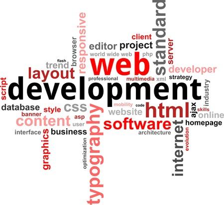 Eine Wortwolke der Web-Entwicklung zugehörige Artikel Illustration