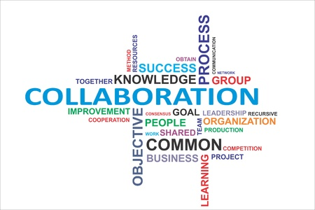 A word cloud of collaboration related items Vectores