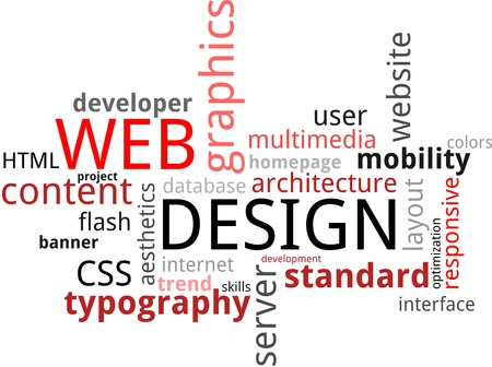 homepage: A word cloud of web design related items