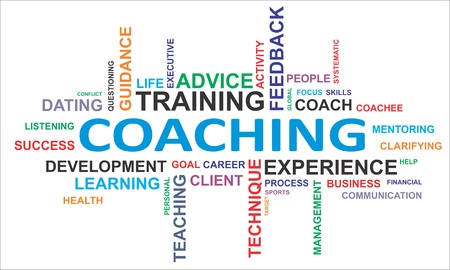 A word cloud of coaching related items