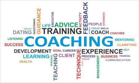 Eine Wortwolke des Coachings zugehörige Artikel Standard-Bild - 18148254