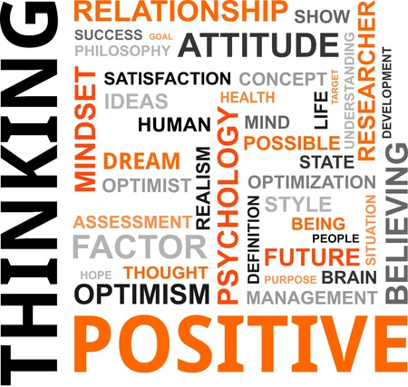 A word cloud of positive thinking related items Vector