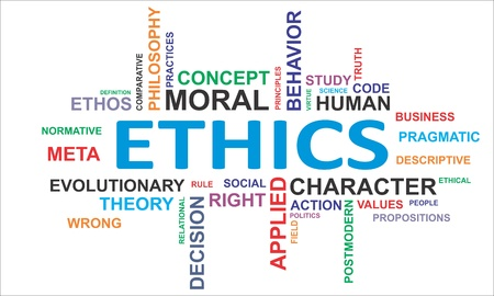 A word cloud of ethics related items Illustration