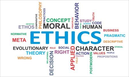 valores morales: Una nube de palabras de art�culos relacionados con la �tica Vectores