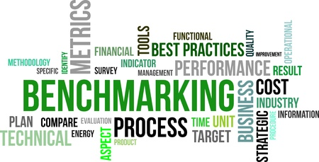 A word cloud of benchmarking related items Vectores