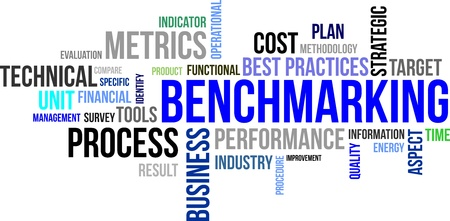 benchmarking: A word cloud of benchmarking related items Illustration