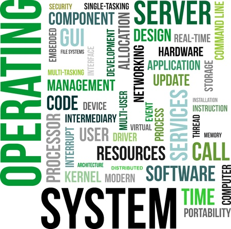 A word cloud of operating system related items Vector
