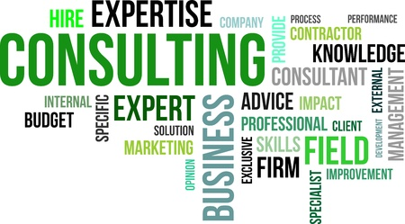 A word cloud of consulting related items Stock Illustratie