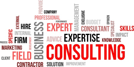 A word cloud of consulting related items Vectores