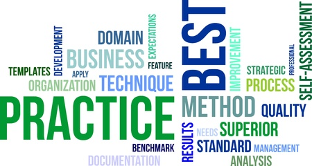 practise: A word cloud of best practice related items