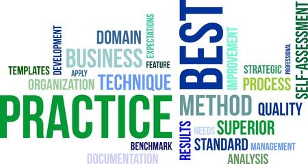 Ein Wort Cloud-Best-Practice-zugehörige Artikel Illustration